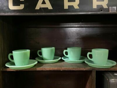 Vintage Fire King Jadeite D Handle Hotel Ware Cups and Saucers