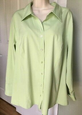 Lane Bryant Women's Shirt Top Plus Button Down Solid Long Sleeve Green Sz 18 20