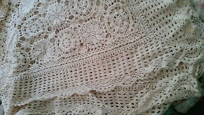 Crochet Beige Rectangular Table Cloth / Bed Throw (007070) Ref S2