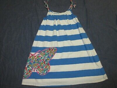 Girls MINI BODEN Blue Striped Dress w/ BUTTERFLY APPLIQUE - Sz 9-10 - Summer