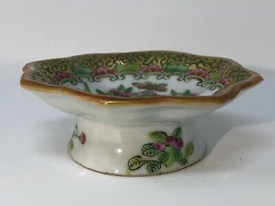 Small 1850's Chinese Rose Canton Export Porcelain Dish