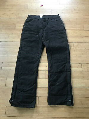 CARHARTT Womens Quilt Lined Double Front Carpenter Pants Insulated Work 14 x 34