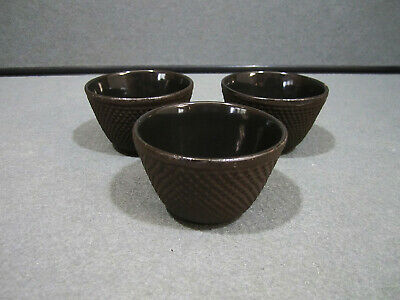 Lot of 3 Japanese Cast Iron Tea Cup Black Hobnail Dot Made in Japan Stamp