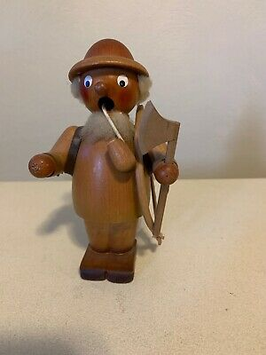 Vtg German Smoker Incense Burner —wooden Wood Cutter W/ Saw, Ax