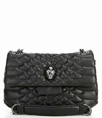 Betsey Johnson Heads Up Small Crossbody Black Skull Accent Chain Handle NWT