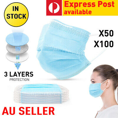 50/100 Face Mask 3Layer Masks Protective Anti Bacterial Filter SAME DAY SHIPPING