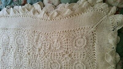 Crochet Vintage Off White Rectangle Table Cloth / Bed Throw (007074) Cr02