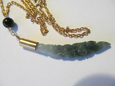 Antique Carved Apple Green Jade/Jadeite Long Sword Pierced Pendant Gold Necklace