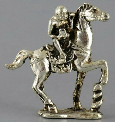 Collectable China Tibet Silver Hand Carve Horse & Monkey Moral Auspicious Statue