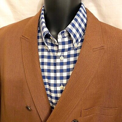 50 52 R Mens TASSO ELBA Sport Coat Blazer Jacket * Rust Brown XXL ~ Double Brstd