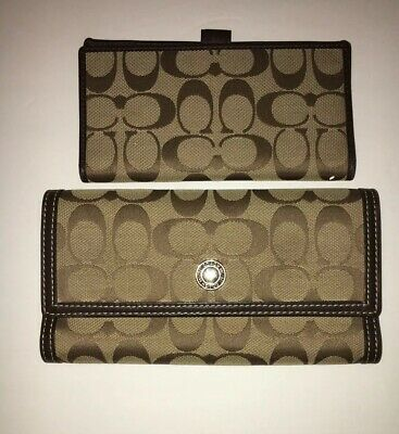 Coach Large Wallet Signature Logo Print With Leather Trim, Tan and Brown