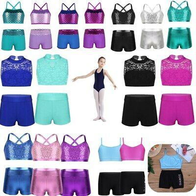 Girls Outfit Tank Top Bottoms Set Ballet Dance Gym Workout 2PCS Sports Costumes