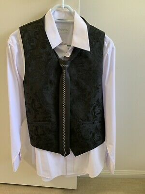 Teen boys / small mens white collared shirt & vest & funky tie formal set