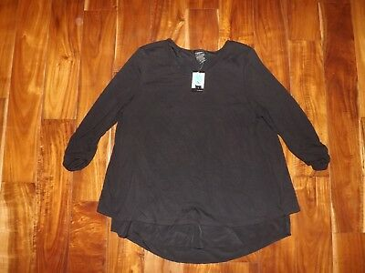 GRACE ELEMENTS Womens Black Shirt XL Scrunch Sleeve Rounded Neck Top NWT