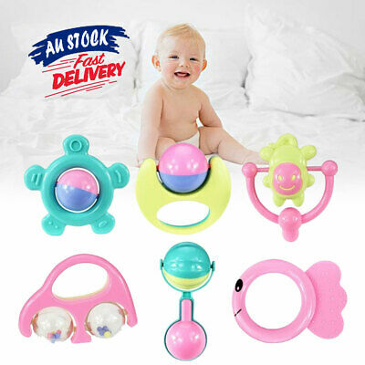 6Pcs Shake Grap Rattle Teether Set Baby Toys Hand Ratt