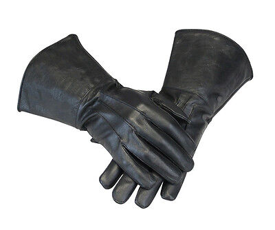 Leather Gauntlet Motorcycle Unlined Gloves