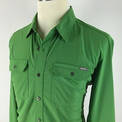 Eddie Bauer Travex Roll-up Long Sleeve Shirt Men's Large in Green Stretch