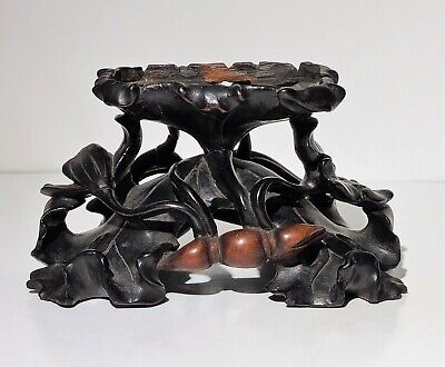 19th c Antique Chinese Carved Wood Stand w Flowers for Jade or Porcelain