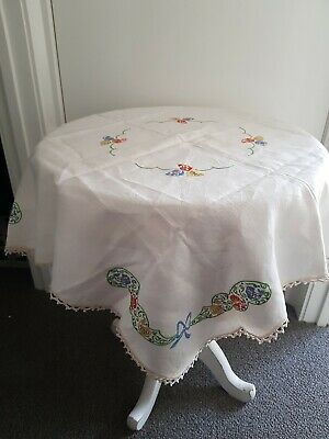 EXQUISITE VINTAGE  TABLECLOTH,  EMBROIDERED with Crochet edge. V.G Preloved Cond