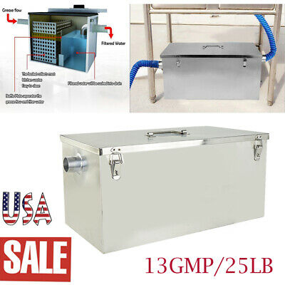 Commercial Stainless Steel Interceptor 25LB 13GPM Gallons Per Minute Grease Trap
