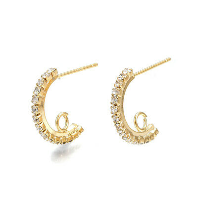 10 Brass Paved Cubic Zirconia Earring Posts Curved Bar Loop 18K Gold Plated 16mm