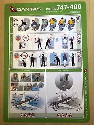 NEW 2020 Qantas Boeing 747-400 Safety Instruction Card Version 1