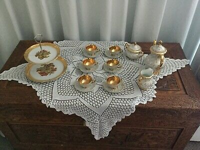 Vintage Coffee Set Gold Crown Brand 15 Piece plus Cake Stand All Made in Japan