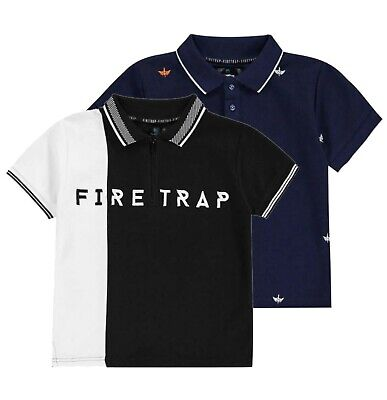 Boys Firetrap Short Sleeves Causal Comfortable Polo Shirt Top Sizes from 5 to 13
