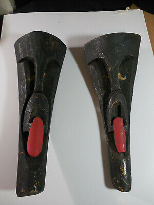 """Vintage Wooden Hand Carved Outdoor Tiki Sculpture Faces Art  18"""" Palm Wood"""