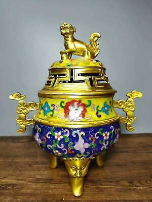 "11"" Collect Chinese Cloisonne Enamel Bronze Lucky Beast Tripodia Incense Burner"