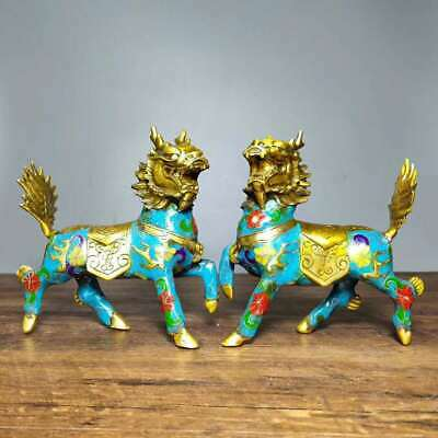 Collect Chinese Cloisonne Enamel Bronze Wire Inlay Gods Beast Kylin Pair Statue