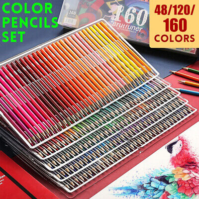 48/120/160 Color Pre-Sharpened Oil Colored Pencils Set Artist Painting Sketching