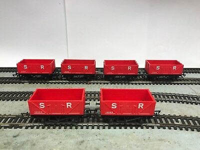 Hornby R.010 x six (6) S.R. 4 wheel open wagon red unboxed SILVER SEAL WHEELS