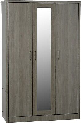 Lisbon 3 Door Mirrored Wardrobe Black Wood Grain Effect