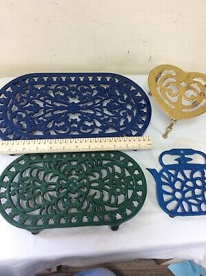 Cast Iron Trivet x3 And One Brass Kettle Trivet