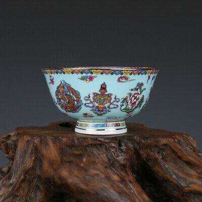 Chinese Qianlong old antique Porcelain famille rose 8 auspicious symbols bowl