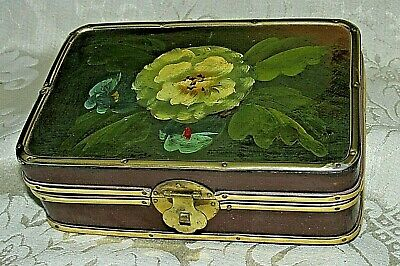 Antique Style Wooden Box Hand Painted Floral Lid Lockable Brass LATCH As New