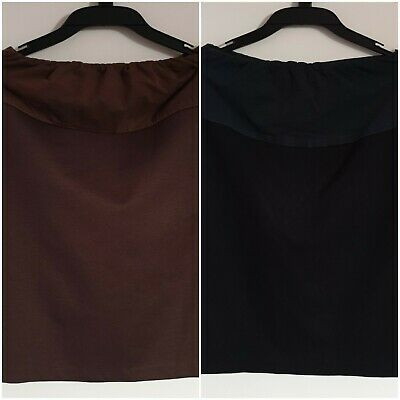 2 x Angel Maternity Skirts, Brown and Black, Size XXS