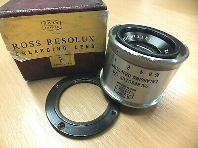 Boxed ROSS RESOLUX 90mm f/4 9cm ENLARGING LENS in Leica Thread 39mm Clean +Clear