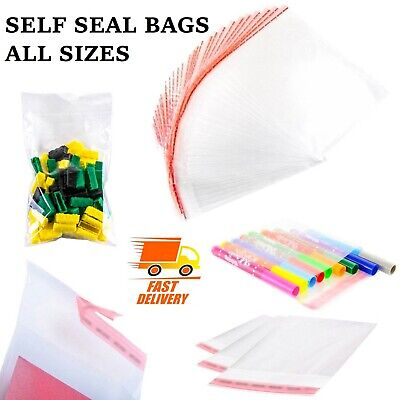 Clear Self Adhesive Seal Cellophane Plastic Bags Small Large Wrap Sweets Cookies