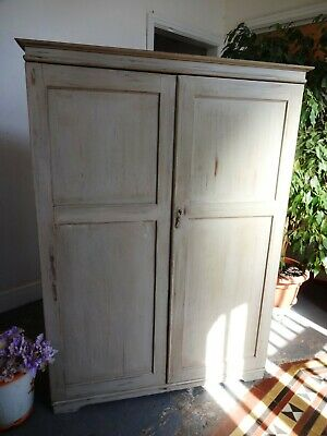 Lovely Vintage Wooden Painted Distressed Gentlemans Compactum Wardrobe Shelves