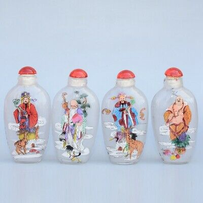Collectable China Old Glass Inside Paint Immortal Moral Auspicious Snuff Bottle