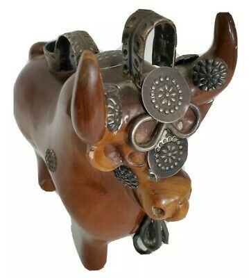Beautiful Hand Carved Solid Wood Wooden Animal Bull Ox Statue Figurine Decorated