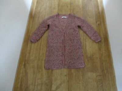 Girls Marks&Spencer 7-8yrs long long length cardigan red pink silver worn once