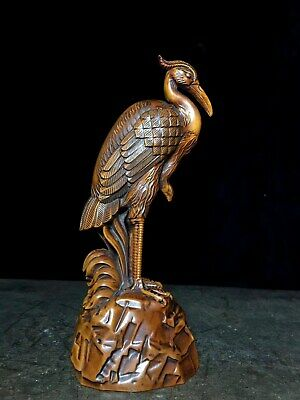Collectable China Old Boxwood Hand-Carved Crane Moral Auspicious Decor Statue
