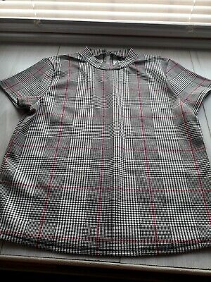 girls grey checked short sleeved top age 13 years from kylie at m&co
