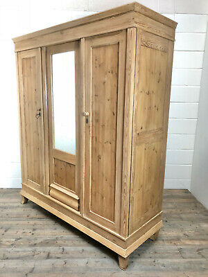 Antique Flat Pack Pine Triple Wardrobe with Mirror - Delivery Available