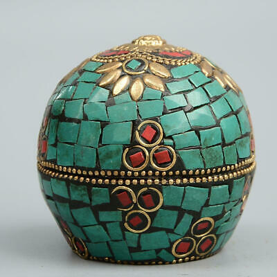 Collectable Antique Bronze Inlay Turquoise Carve Delicate Bring Luck Jewelry Box