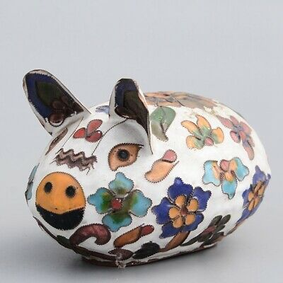Collectable China Old Cloisonne Hand-Carved Lovely Pig Delicate Decorate Statue