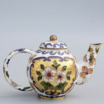 Collectable China Old Cloisonne Hand-Carved Bloomy Flower Delicate Noble Tea Pot